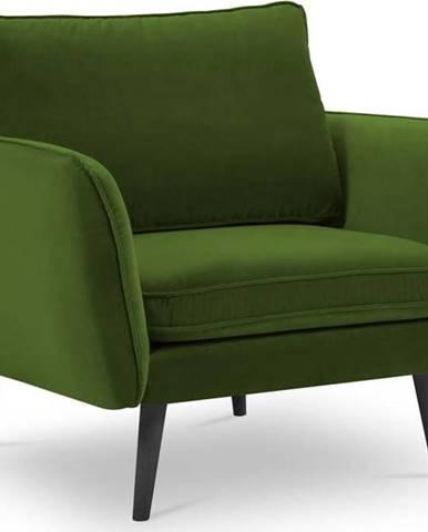 Zelené sametové křeslo s černými nohami Kooko Home Lento
