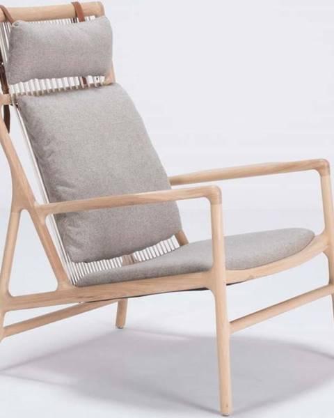 Gazzda Křeslo s konstrukcí z dubového dřeva s šedým textilním sedákem Gazzda Dedo