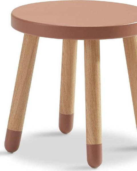 Flexa Růžová dětská stolička Flexa Dots, ø 30 cm