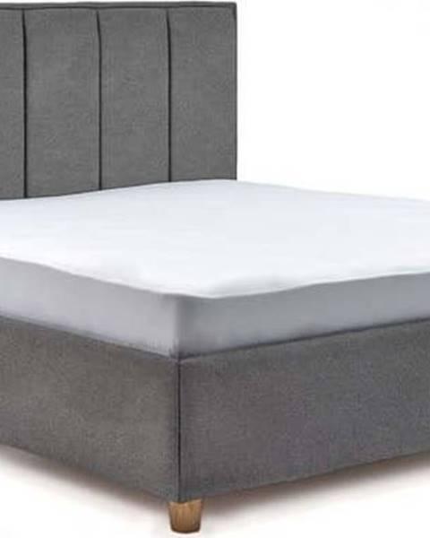 ProSpánek Světle šedá dvoulůžková postel s roštem a úložným prostorem ProSpánek Wega, 180 x 200 cm