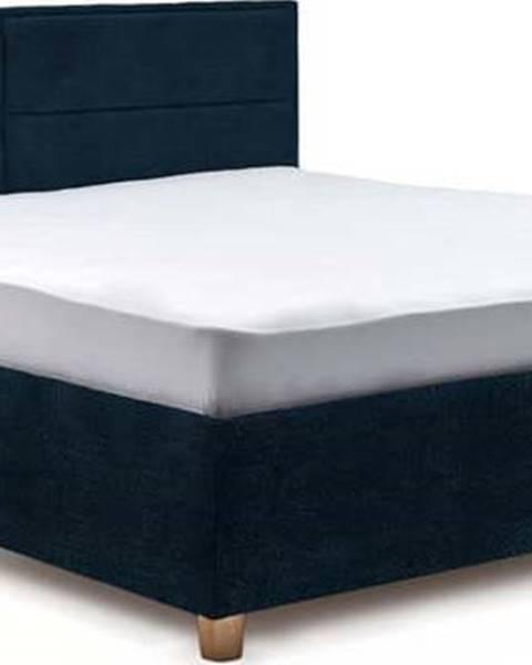 ProSpánek Tmavě modrá dvoulůžková postel s roštem a úložným prostorem ProSpánek Grace, 160 x 200 cm