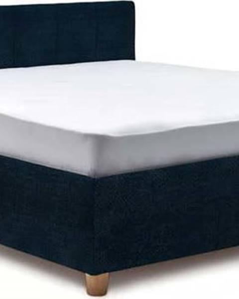 ProSpánek Tmavě modrá dvoulůžková postel s roštem a úložným prostorem ProSpánek Leda, 160 x 200 cm