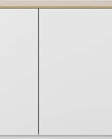 Bílá komoda s dvířky a deskou v dubovém dekoru TemaHome Join, 120 x 84 cm