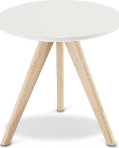 Bílý konferenční stolek s nohami z dubového dřeva Furnhouse Life, Ø40cm