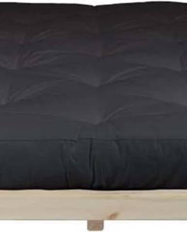 Dvoulůžková postel z borovicového dřeva s matrací Karup Design Dock Double Latex Natural Clear/Black, 180 x 200 cm
