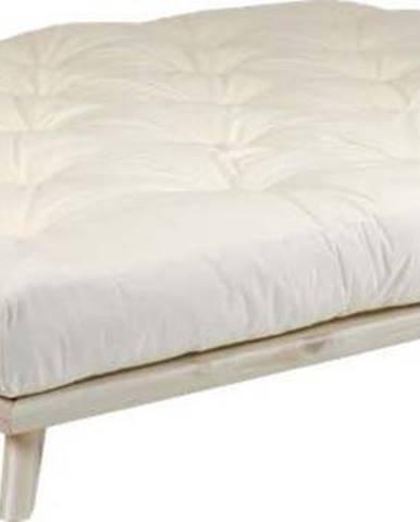Dvoulůžková postel z borovicového dřeva s matrací Karup Design Senza Comfort Mat Natural Clear/Natural, 180 x 200 cm
