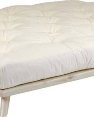 Dvoulůžková postel z borovicového dřeva s matrací Karup Design Senza Double Latex Natural Clear/Natural, 160 x 200 cm
