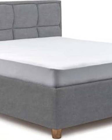 Modrošedá dvoulůžková postel s úložným prostorem ProSpánek Karme, 160 x 200 cm