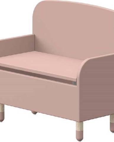 Růžová úložná lavice s opěrkou Flexa Dots