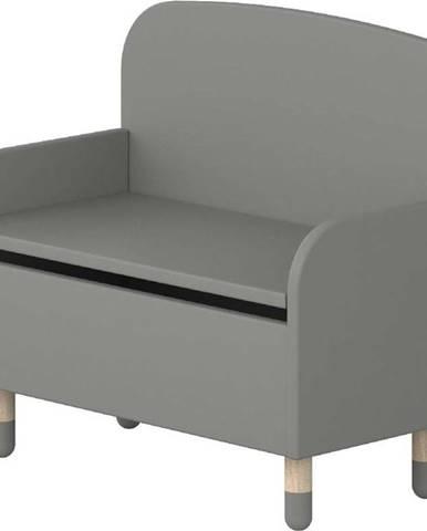 Šedá úložná lavice s opěrkou Flexa Dots