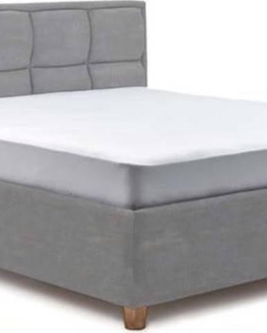 Světle modrá dvoulůžková postel s roštem a úložným prostorem ProSpánek Karme, 160 x 200 cm