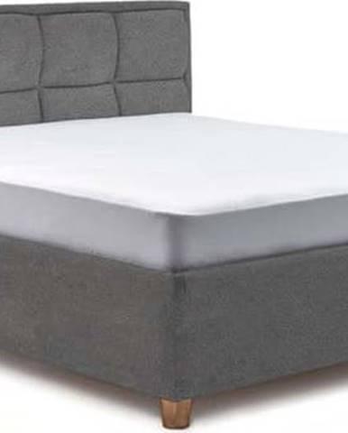 Světle šedá dvoulůžková postel s roštem a úložným prostorem ProSpánek Karme, 180 x 200 cm