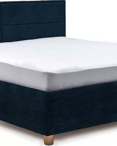 Tmavě modrá dvoulůžková postel s roštem a úložným prostorem ProSpánek Grace, 160 x 200 cm