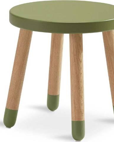 Zelená dětská stolička Flexa Dots, ø 30 cm