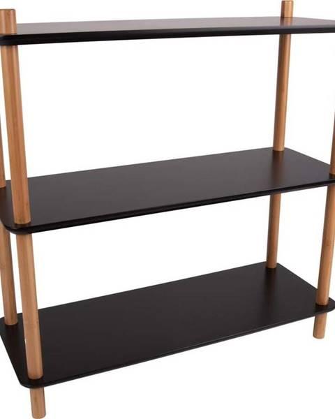 Leitmotiv Černý regál s bambusovými nohami Leitmotiv Cabinet Simplicity, 80 x 82.5 cm