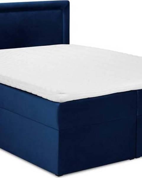 Mazzini Beds Modrá sametová dvoulůžková postel Mazzini Beds Yucca,160x200cm