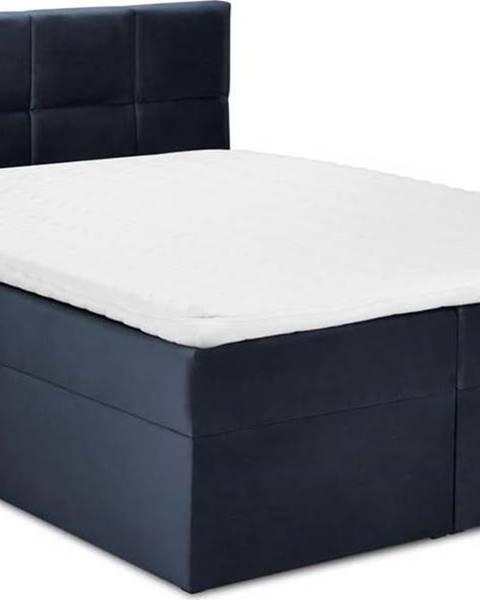 Mazzini Beds Tmavě modrá sametová dvoulůžková postel Mazzini Beds Mimicry,180x 200cm