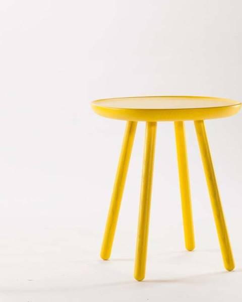 Emko Žlutý odkládací stolek z masivu EMKO Naïve, ø45cm
