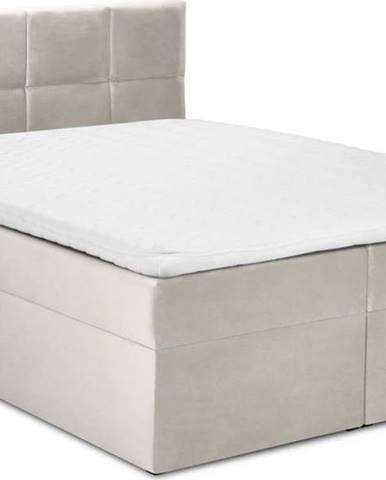 Béžová sametová dvoulůžková postel Mazzini Beds Mimicry,180x200cm