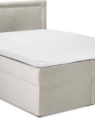 Béžová sametová dvoulůžková postel Mazzini Beds Yucca,200x200cm