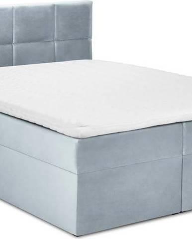 Bledě modrá sametová dvoulůžková postel Mazzini Beds Mimicry,160x200cm