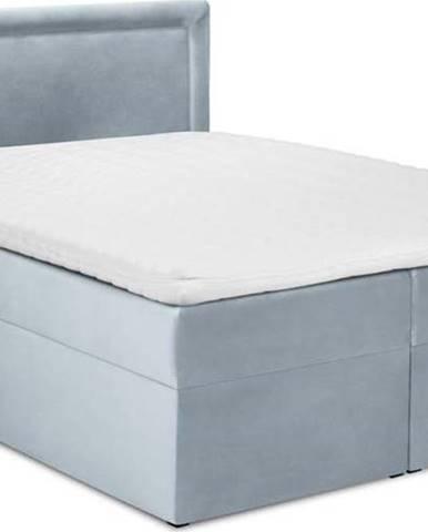 Bledě modrá sametová dvoulůžková postel Mazzini Beds Yucca,180x200cm