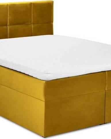 Hořčicově žlutá sametová dvoulůžková postel Mazzini Beds Mimicry,180x200cm