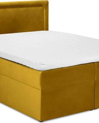 Hořčicově žlutá sametová dvoulůžková postel Mazzini Beds Yucca,200x200cm