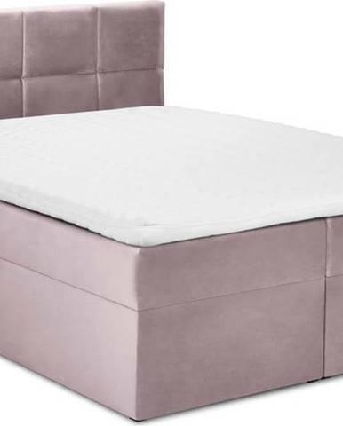 Růžová sametová dvoulůžková postel Mazzini Beds Mimicry,180x200cm