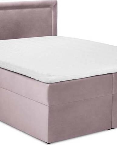 Růžová sametová dvoulůžková postel Mazzini Beds Yucca,200x200cm