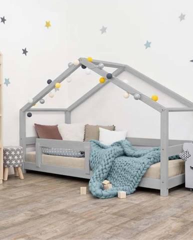 Šedá dětská postel domeček s bočnicí Benlemi Lucky, 90 x 180 cm
