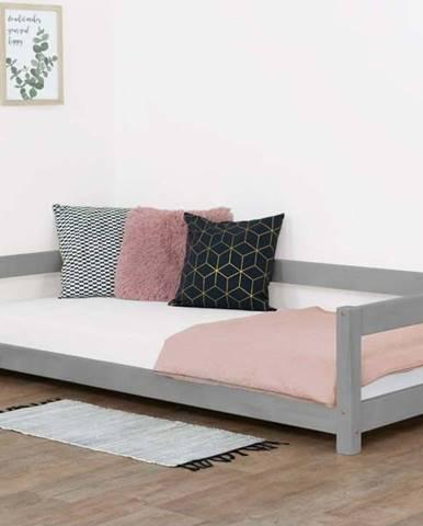 Šedá dětská postel ze smrkového dřeva BenlemiStudy, 90x160cm