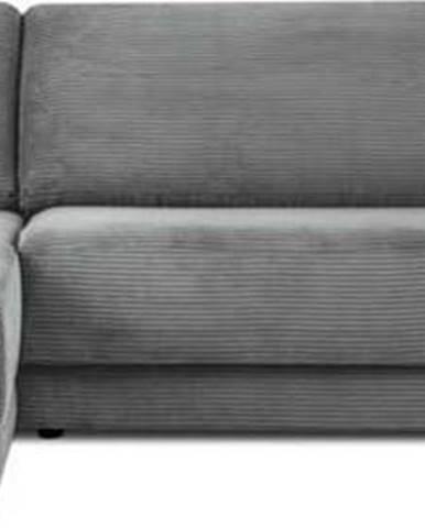 Šedá manšestrová rozkládací rohová pohovka Milo Casa Donatella, levý roh