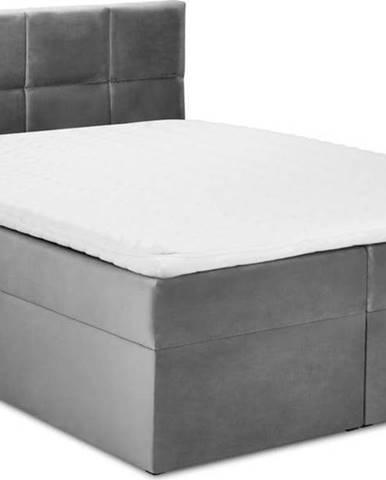 Šedá sametová dvoulůžková postel Mazzini Beds Mimicry,160x200 cm