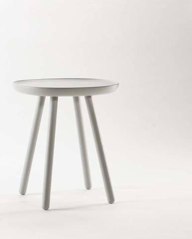 Šedý odkládací stolek z masivu EMKO Naïve, ø45cm