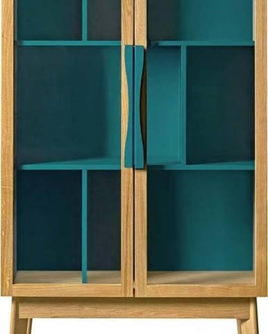 Tyrkysově modrá vitrína Woodman Avon