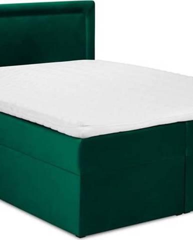 Zelená sametová dvoulůžková postel Mazzini Beds Yucca,180x200cm