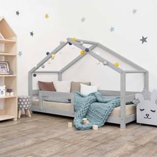 Šedá dětská postel domeček s bočnicí Benlemi Lucky, 80 x 180 cm