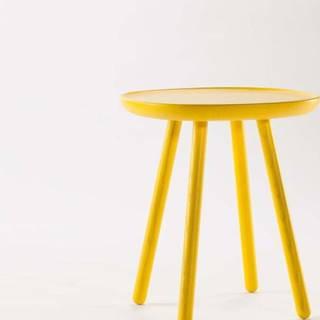 Žlutý odkládací stolek z masivu EMKO Naïve, ø45cm