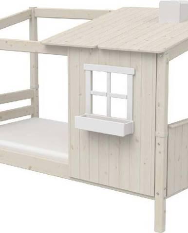 Bílá domečková postel z borovicového dřeva Flexa Classic Tree House, 90x200cm