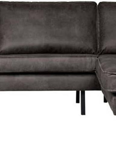Černá rohová pohovka z imitace kůže BePureHome Rodeo, pravý roh