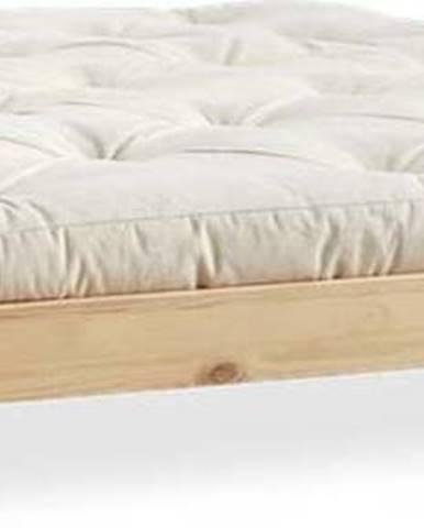 Dvoulůžková postel z borovicového dřeva s matrací Karup Design Elan Comfort Mat Natural Clear/Natural, 140 x 200 cm