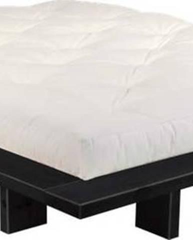 Dvoulůžková postel z borovicového dřeva s matrací Karup Design Japan Comfort Mat Black/Natural, 160 x 200 cm