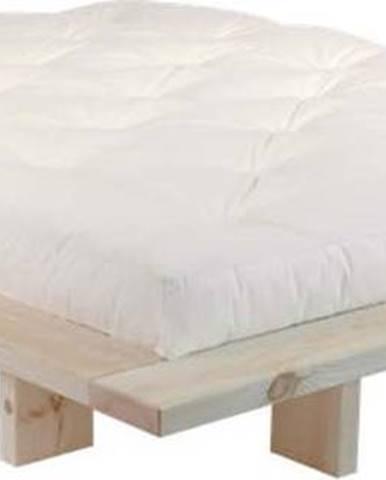 Dvoulůžková postel z borovicového dřeva s matrací Karup Design Japan Double Latex Raw/Natural, 140 x 200 cm