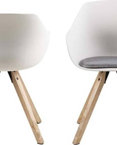 Sada 2 bílých jídelních židlí s nohami z kaučukového dřeva Actona Tina