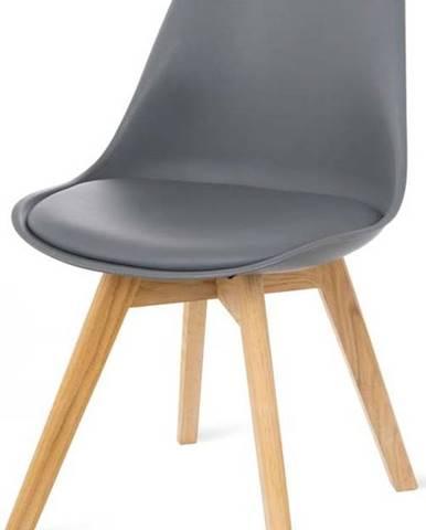 Sada 2 šedých židlí s bukovými nohami loomi.design Retro