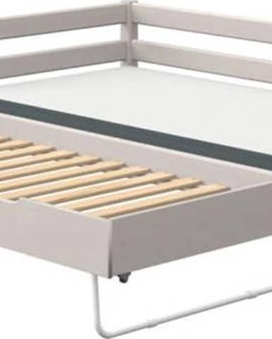 Šedá dětská postel z borovicového dřeva s přídavným výklopným lůžkem Flexa Classic