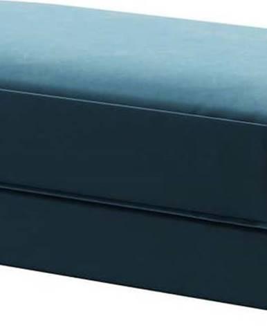 Tmavě modrá sametová podnožka Devichy Laure, 112x60cm