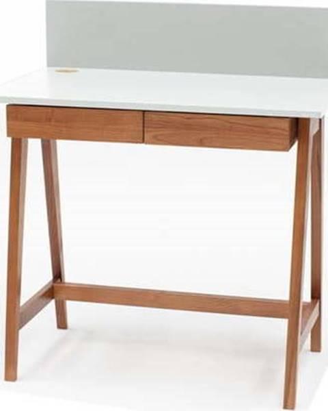 Ragaba Bílý psací stůl s podnožím z jasanového dřeva Ragaba Luka Oak, délka 85 cm