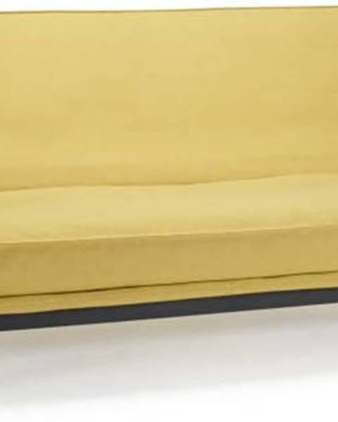 Innovation Žlutá rozkládací pohovka se snímatelným potahem Innovation Mimer Soft Mustard Flower
